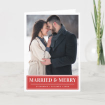 Modern Red Married & Merry Christmas Photo Holiday Card
