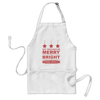 Modern Red Merry and Bright with Stars Holiday Adult Apron