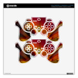 Modern red & orange abstract PS3 controller skins