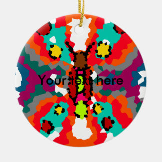 Modern red orange and blue crystallized butterfly Double-Sided ceramic round christmas ornament