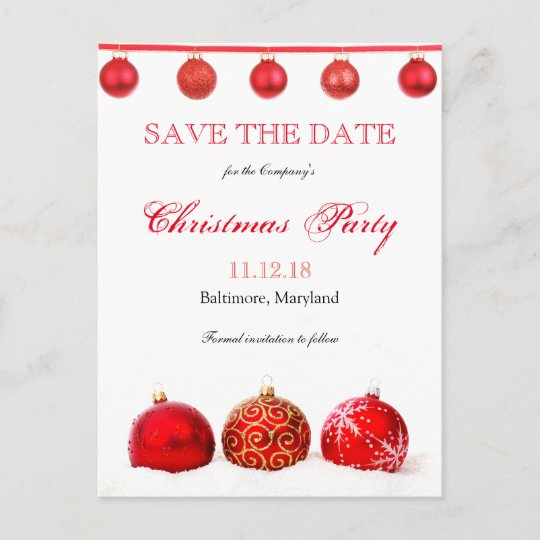 modern red ornaments save the date christmas party announcement