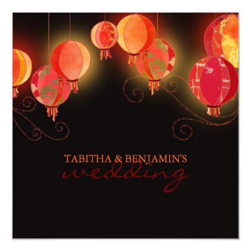 "Modern Red Paper Lanterns Elegant Formal Wedding 5.25"" Square Invitation Card"