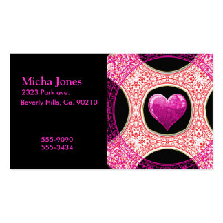 Modern Red Pink & Black Floral Heart Mosaic Business Card