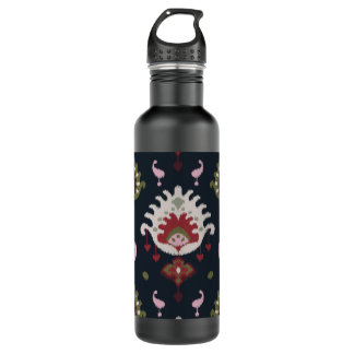 Modern red pink black girly ikat tribal pattern stainless steel water bottle