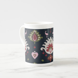 Modern red pink black girly ikat tribal pattern tea cup