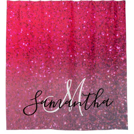 Modern Red & Pink Glitter Sparkles Name Shower Curtain