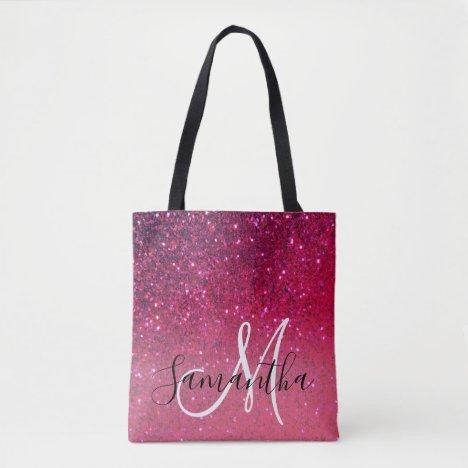 Modern Red & Pink Glitter Sparkles Name Tote Bag