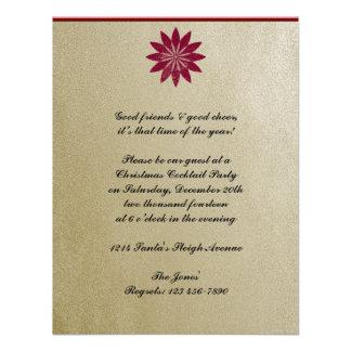 Modern Red Poinsettia Flower on Gold Background Custom Invitations