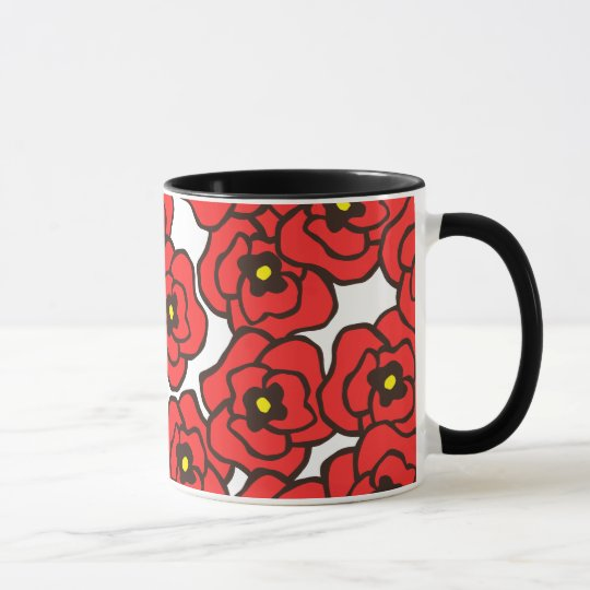 Modern Red Poppies Floral Print Coffee Mug