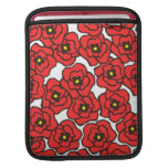 Modern Red Poppies Floral Print iPad Sleeve