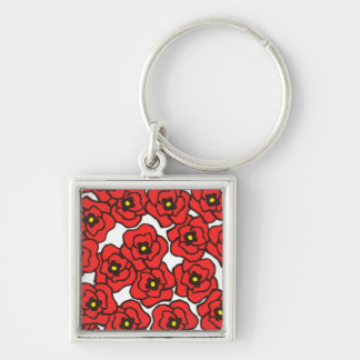 Modern Red Poppies Floral Print Keychain