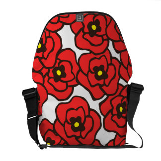 Modern Red Poppies Floral Print Messenger Bag