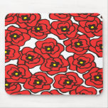 Modern Red Poppies Floral Print Mousepad
