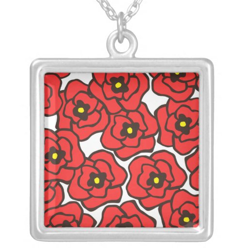 Modern Red Poppies Floral Print Necklace