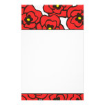 Modern Red Poppies Floral Print Stationery