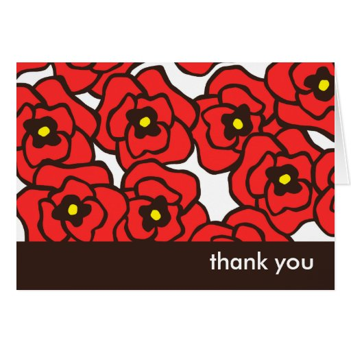 Modern Red Poppies Floral Thank You Note Cards