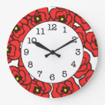 Modern Red Poppies Round Floral Wall Clock