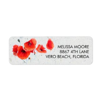 Modern Red Poppy Floral Return Address Label
