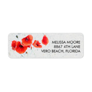 Modern Red Poppy Floral Return Address Label