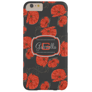 Modern Red Poppy Pattern Monogram on Slate Gray Barely There iPhone 6 Plus Case