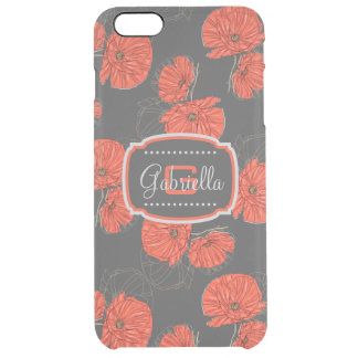 Modern Red Poppy Pattern Monogram on Slate Gray Clear iPhone 6 Plus Case