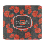 Modern Red Poppy Pattern Monogram on Slate Gray Cutting Board