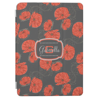 Modern Red Poppy Pattern Monogram on Slate Gray iPad Air Cover