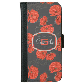 Modern Red Poppy Pattern Monogram on Slate Gray iPhone 6/6s Wallet Case