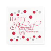 Modern Red Retirement Party Napkins