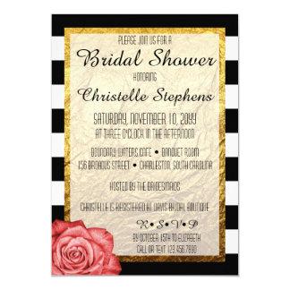 Modern Red Rose Faux Gold Foil Bridal Shower Card
