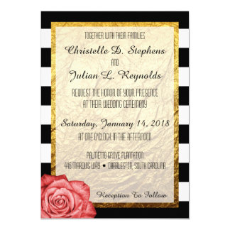 Modern Red Rose Faux Gold Foil Striped Wedding Card