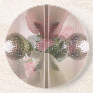 Modern Red Rose Glass Knob Light Pink Overlay Coaster