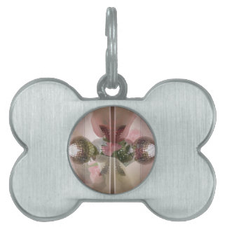 Modern Red Rose Glass Knob Light Pink Overlay Pet Name Tag