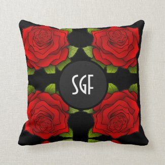 Modern Red Rose Pattern Throw Pillow with Monogram