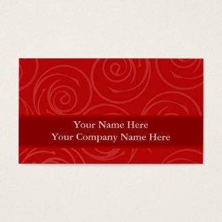 Modern Red Rose Swirls Damask Template Business Card