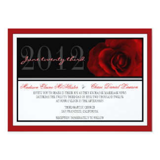 Modern Red Rose Wedding Invite