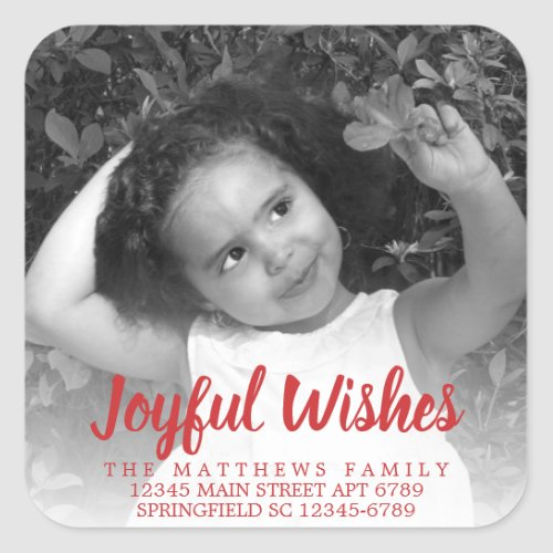 Modern Red Rustic Joyful Wishes Photo Address Square Sticker
