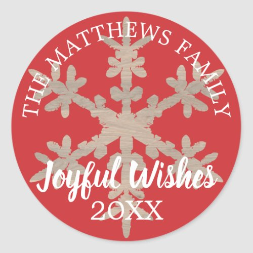 Modern Red Rustic Snowflake Personalized Year Classic Round Sticker