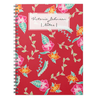 Modern red scarlet floral pattern illustration notebook
