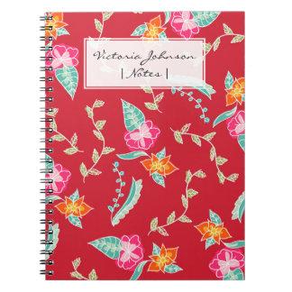 Modern red scarlet floral pattern illustration notebook