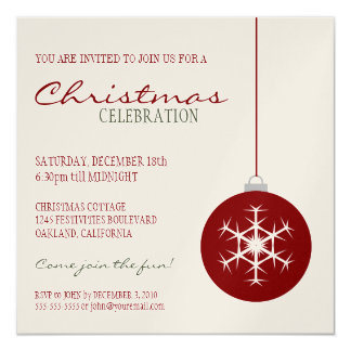 Modern Red Snowflake Bauble | Christmas Party Card
