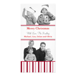 Modern Red Stripe Holiday Christmas Photo Cards