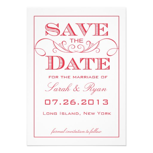Modern Red Swirl Save the Date Announcement