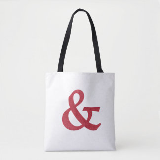 Modern Red Textured Ampersand And Symbol Tote Bag