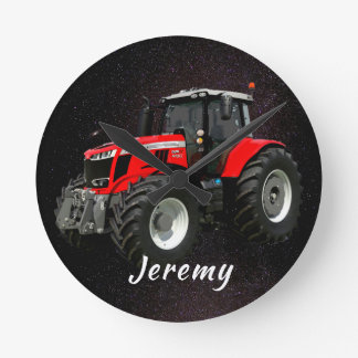 Modern Red Tractor  Round Clock
