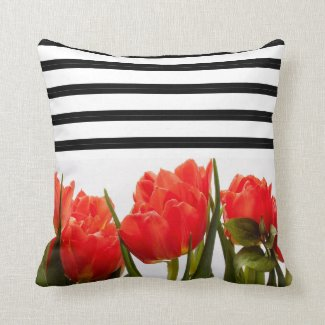 Modern Red Tulips with Black and White Stripes Throw Pillow