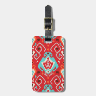 Modern red turquoise girly ikat tribal pattern bag tag