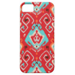 Modern red turquoise girly ikat tribal pattern iPhone 5 case