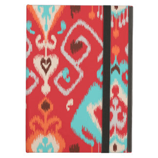 Modern red turquoise girly ikat tribal pattern iPad air covers