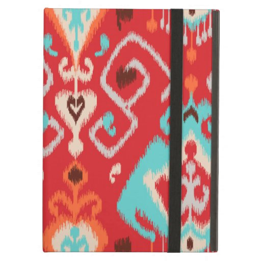 Modern red turquoise girly ikat tribal pattern iPad covers